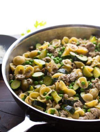 One Pan Turkey Pasta Recipe with Zucchini and Lemon