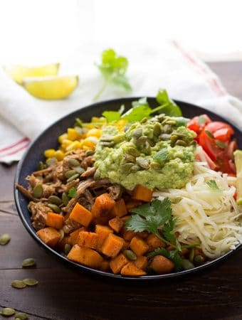 Maple Pulled Pork Burrito Bowls with Sweet Potatoes and Pepitas
