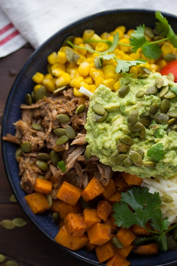 Maple Pulled Pork Burrito Bowls with Sweet Potatoes and Pepitas, an easy week-night dinner ready in 30 minutes! @sweetpeasaffron