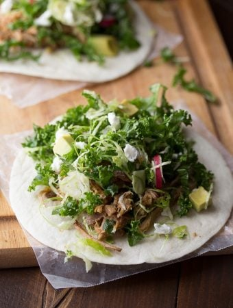 Maple Pulled Pork Tacos with Kale Slaw (Slow Cooker)