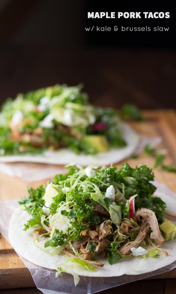 Maple Pork Tacos with Kale and Brussels Slaw