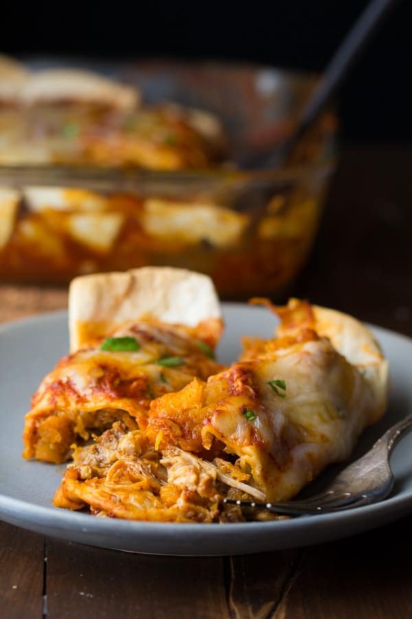 Maple Pulled Pork Enchiladas with Butternut Squash (slow cooker), an easy weeknight dinner recipe ready in 45 minutes @sweetpeasaffron
