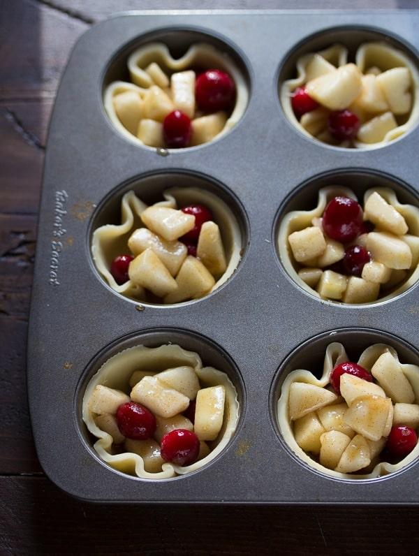 Mini Pear & Cranberry Pies with Brown Butter Glaze