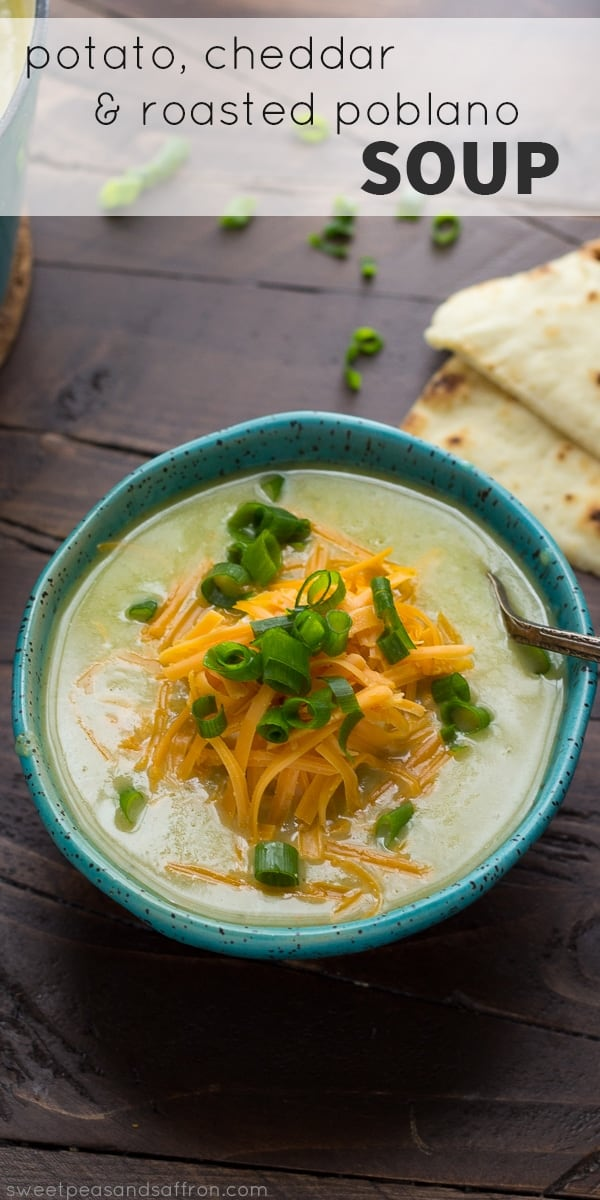 Roasted Poblano Soup With Potatoes And Cheddar An Easy Healthy Vegetarian Recipe
