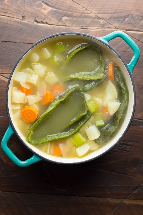 roasted poblano soup in pot before cooking