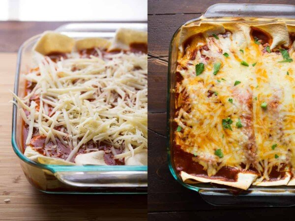 collage image showing before and after baking maple pork enchiladas