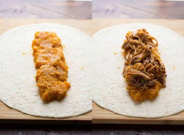 collage image showing how to layer the filling onto the tortilla