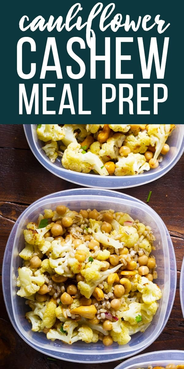 Make these cauliflower cashew meal prep bowls ahead of time and have work lunches ready for the week: Roasted cauliflower, toasted cashews, barley and chickpeas are all tossed in a delicious honey-ginger vinaigrette! Vegetarian and easily made vegan. #sweetpeasandsaffron #mealprep #salad #cauliflower #vegetarian #vegan