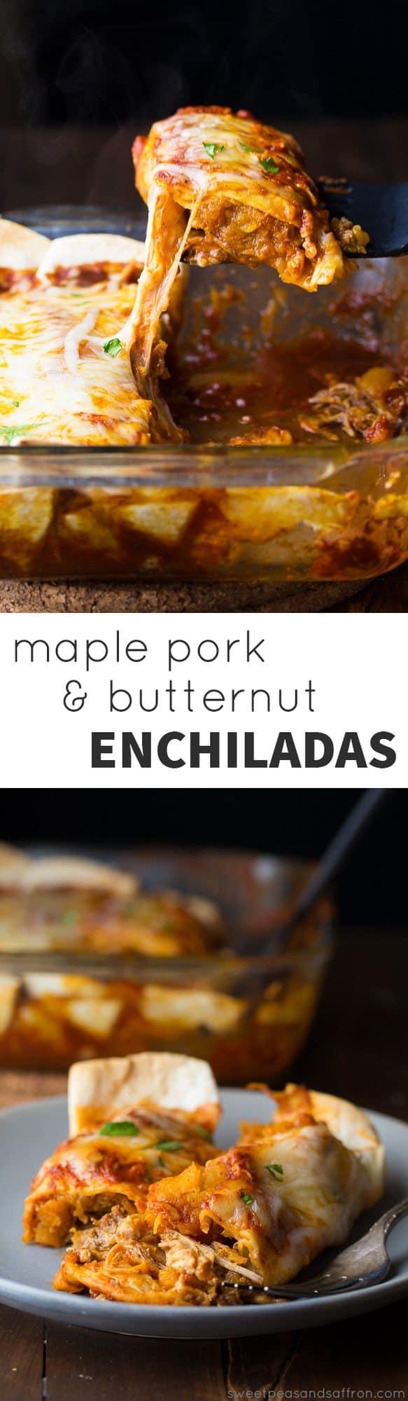Maple Pulled Pork Enchiladas with Butternut Squash (slow cooker) @sweetpeasaffron