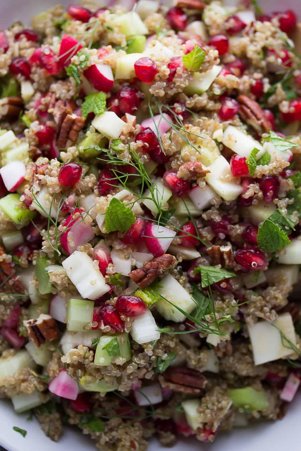 close up shot of quinoa pomegranate salad