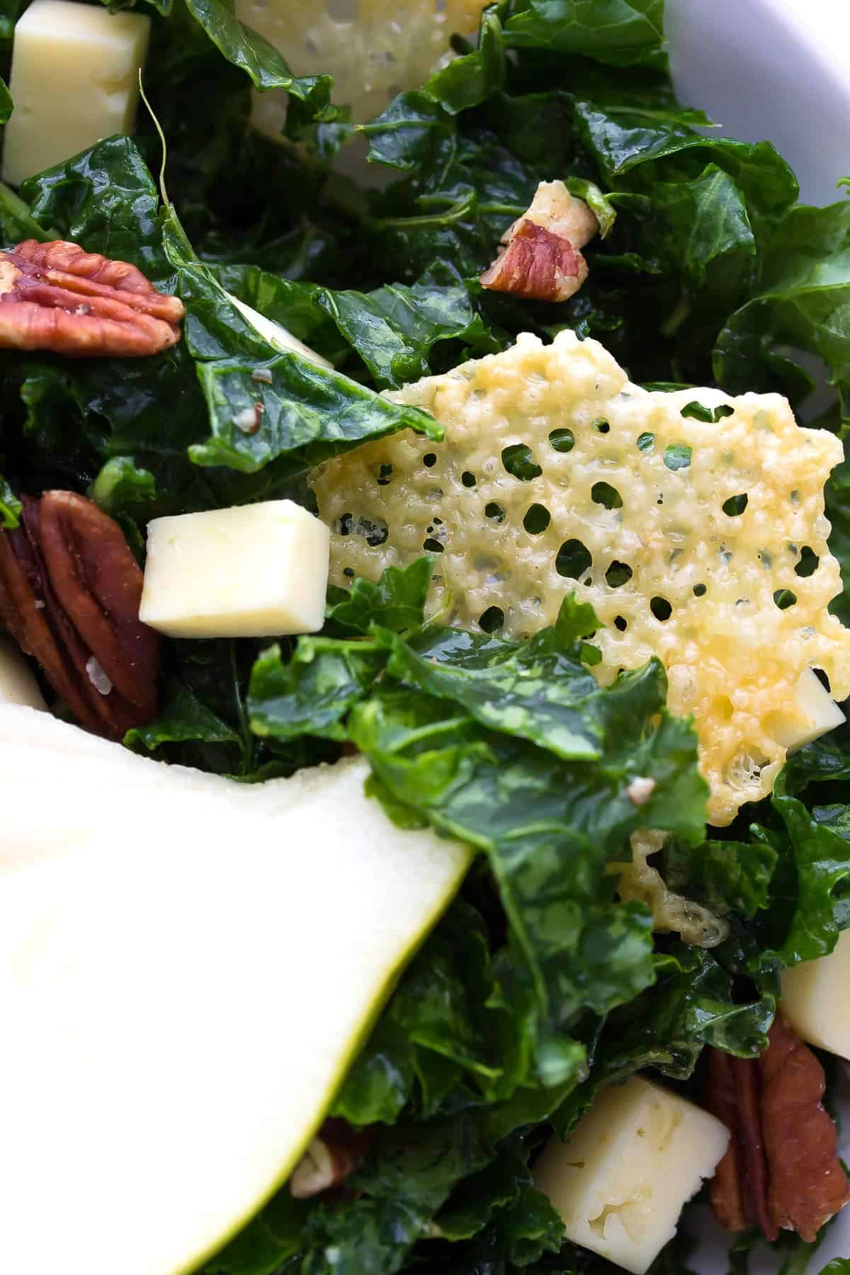 Winter Balsamic Kale Salad with Havarti Crisps, an easy holiday salad that can be made ahead of time!