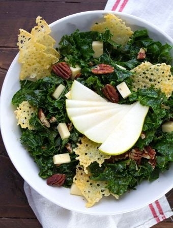 Winter Balsamic Kale Salad with Havarti Crisps