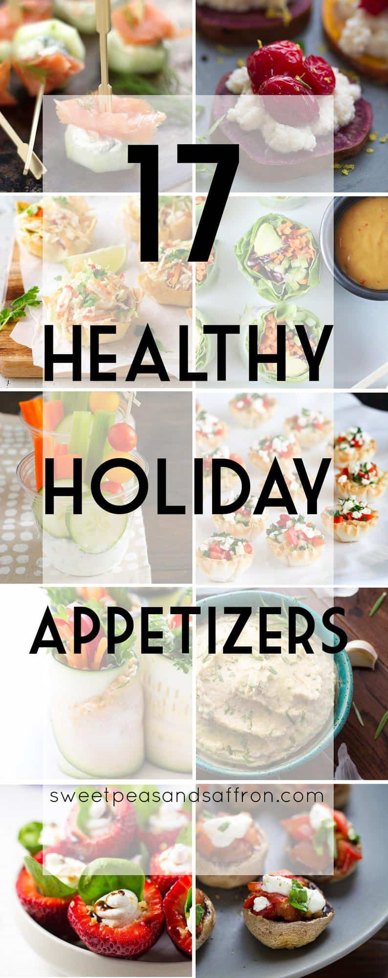 collage image with 17 healthy holiday appetizers