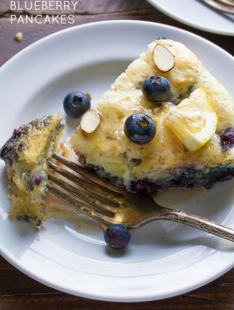 Deep Dish Pancakes with Blueberries & Almonds