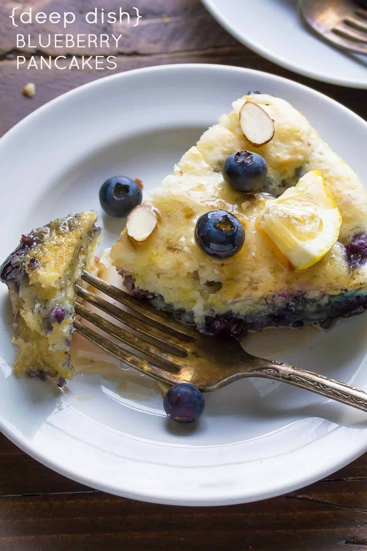 Deep Dish Blueberry-Almond Pancakes, an easy hands off healthy breakfast or brunch recipe! With blueberries, almonds and lemon zest.