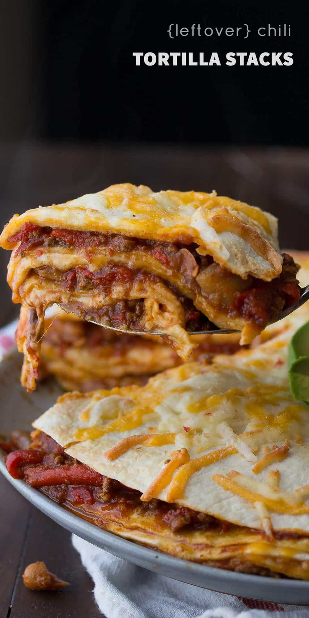 A fast and easy tortilla stack recipe that spreads leftover chili between tortillas with cheese. Ready in 25 minutes, and makes for an awesome weeknight dinner and packed lunch the next day!