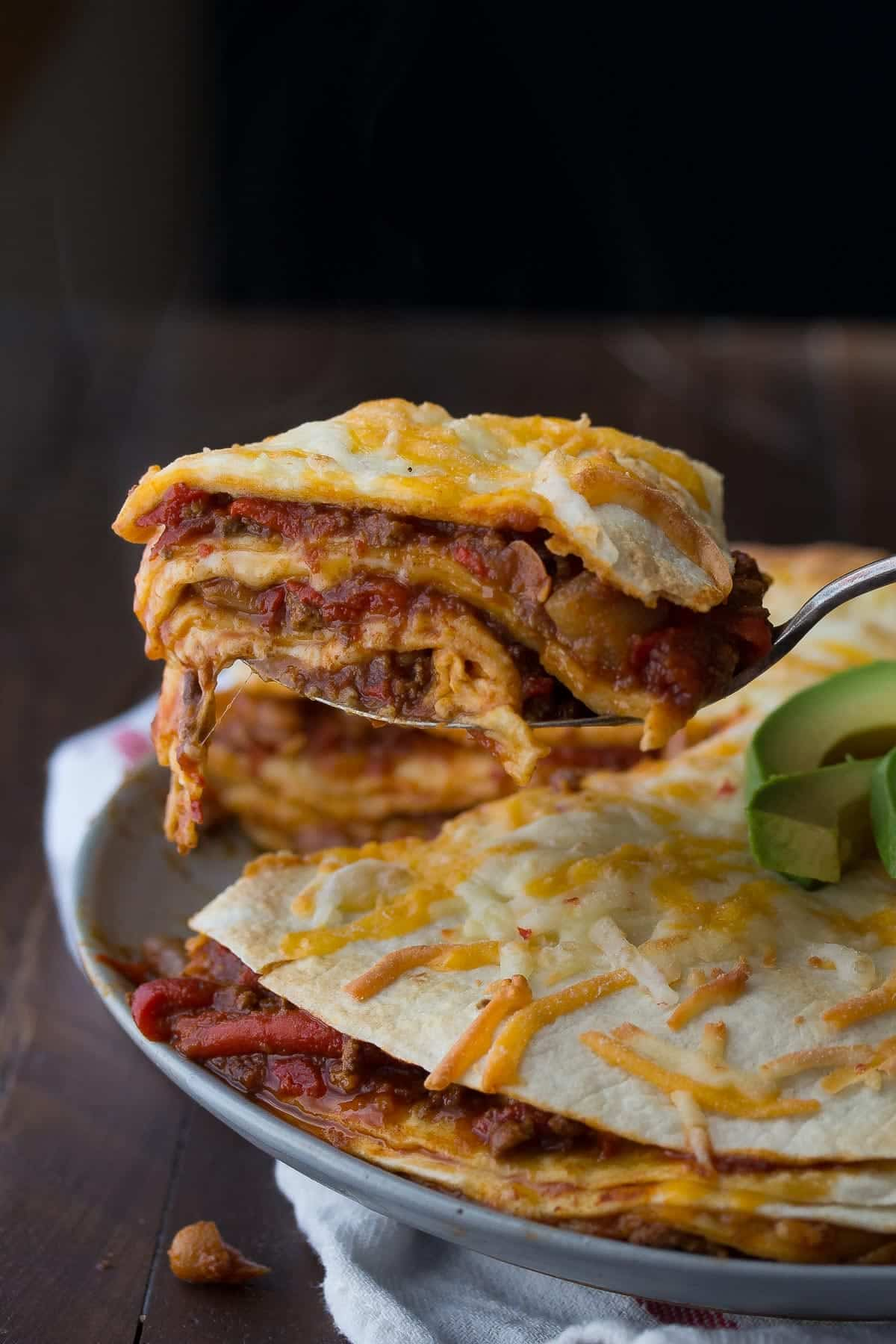 Leftover chili tortilla stacks