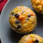 southwestern sweet potato egg muffins on gray plate