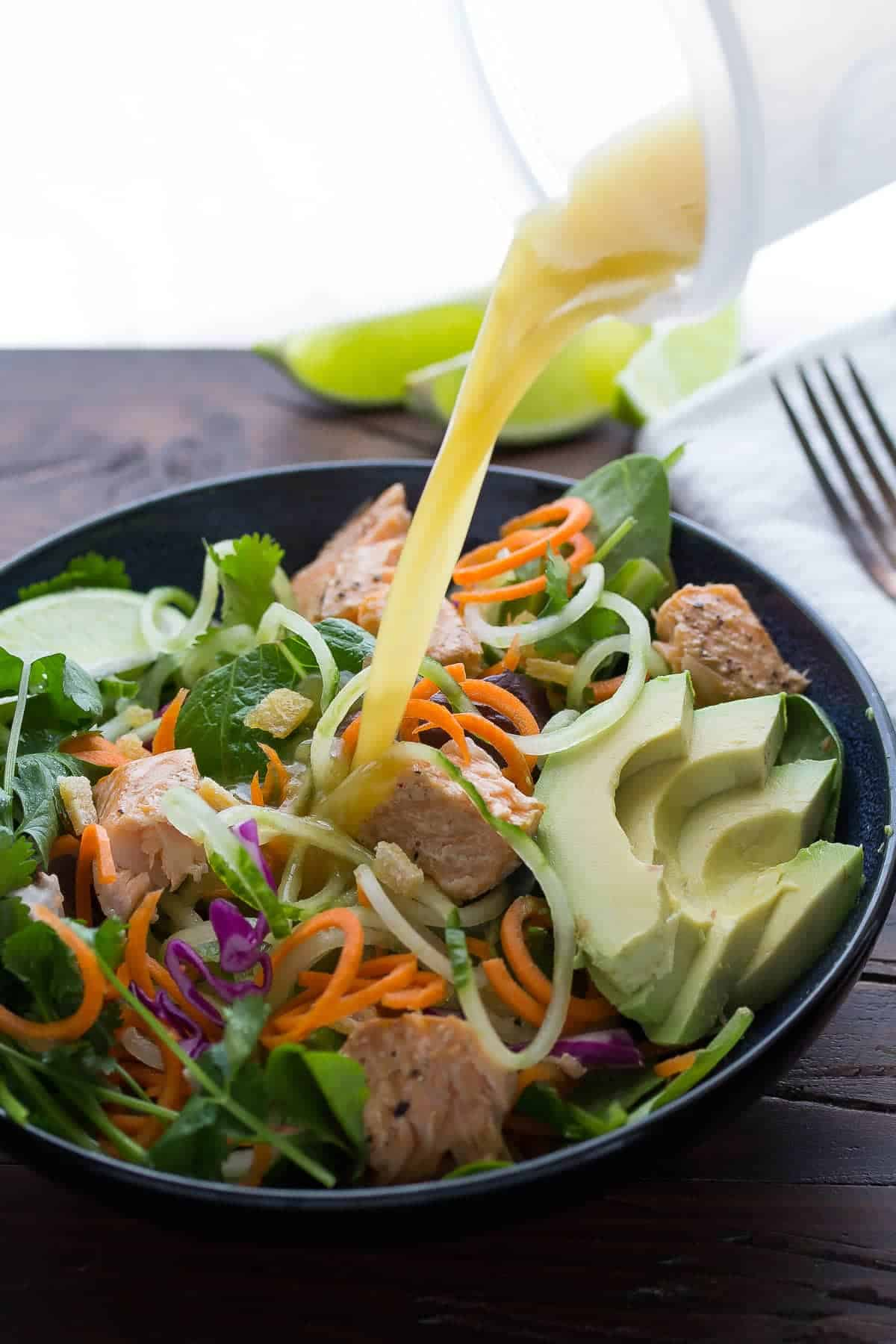 Asian Salad with Salmon, Ginger, and Lime Dressing, a healthy dinner recipe that's ready in 30 minutes!