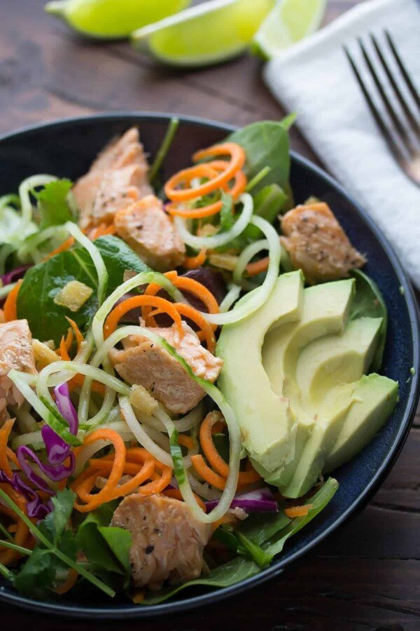 asian salmon salad with candied ginger and lime vinaigrette