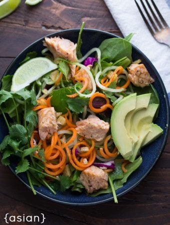 Asian Salad with Salmon, Ginger, and Lime Dressing