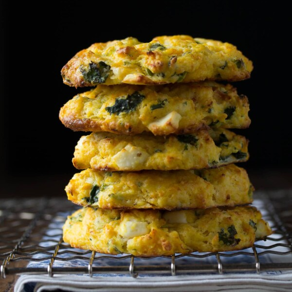 stack of five butternut squash scones with spinach and feta