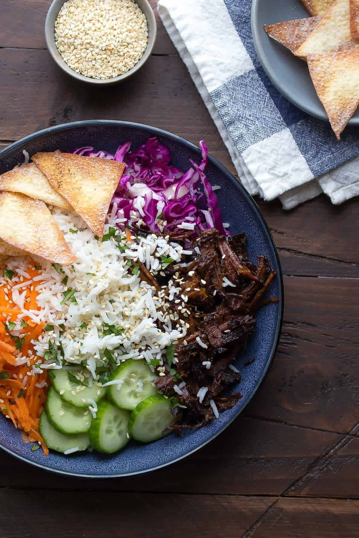 Honey Garlic Beef Rice Bowls with Crispy Wonton Chips