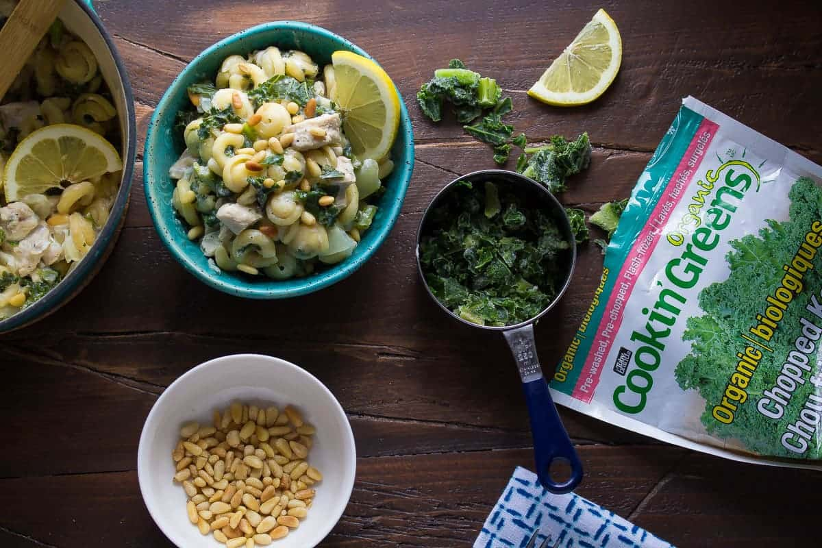 One Pot Pasta with Kale, Goat Cheese, Chicken and Pine Nuts. An easy week-night dinner recipe that is ready in 30 minutes!
