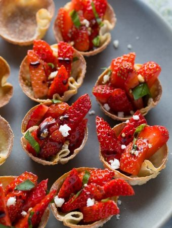 Strawberry Balsamic Bites with Feta and Basil