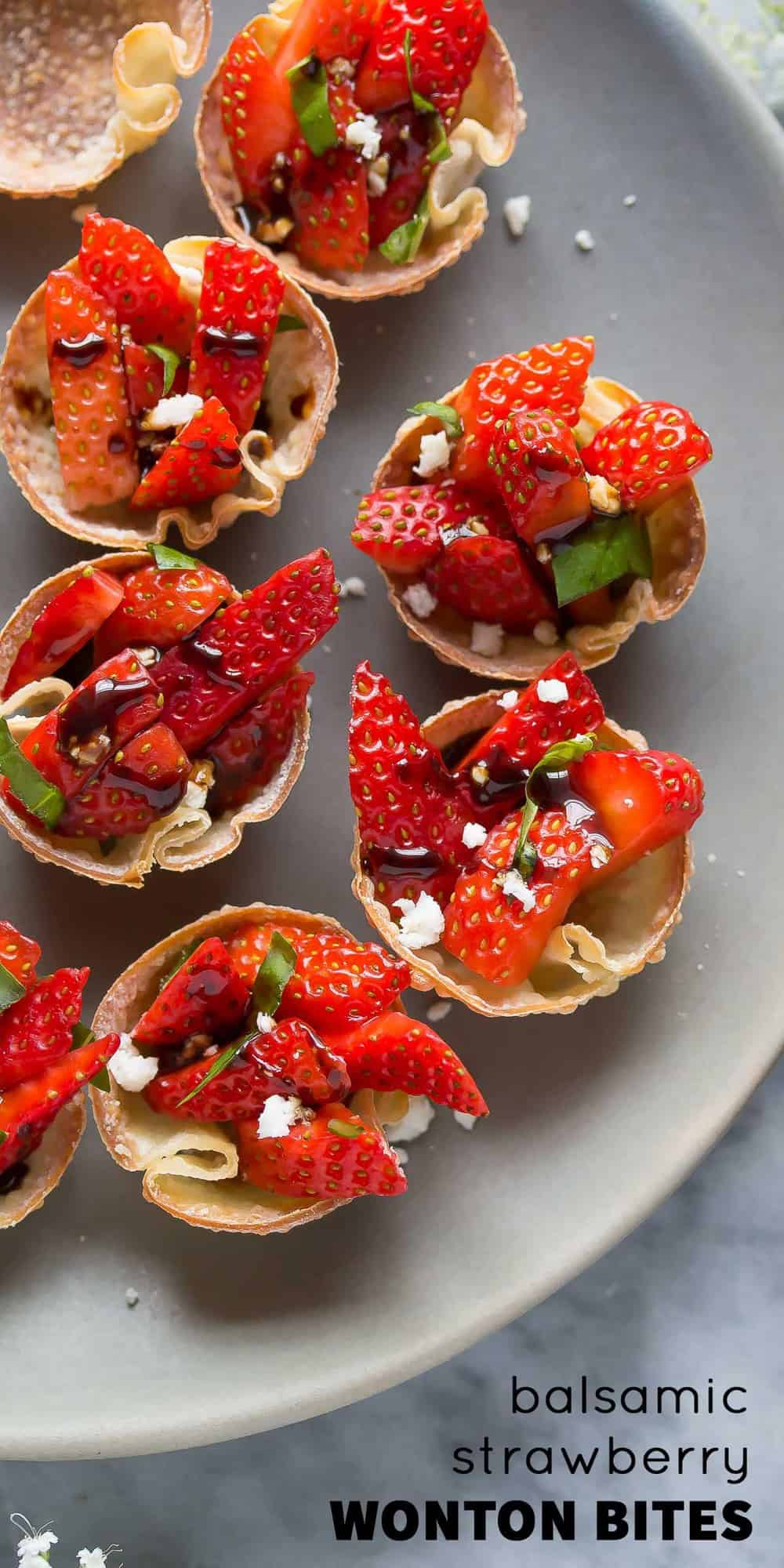 Strawberry Balsamic Bites with Feta and Basil, a lighter make-ahead appetizer option for a party or shower!