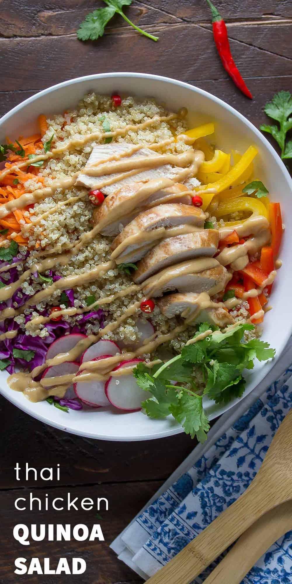 Thai Chicken Quinoa Salad With Peanut Dressing