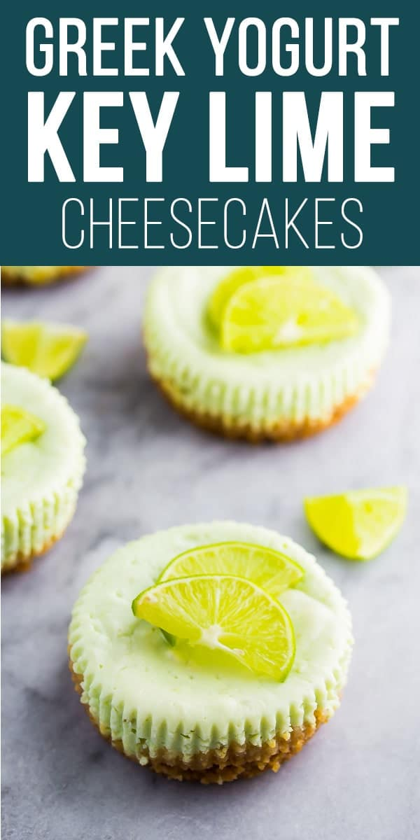 These mini Greek yogurt cheesecakes have a tropical key lime twist!  Only 125 calories each, and full of protein to help keep you satisfied! #sweetpeasandsaffron #greekyogurt #lowcalorie #dessert #easter #spring