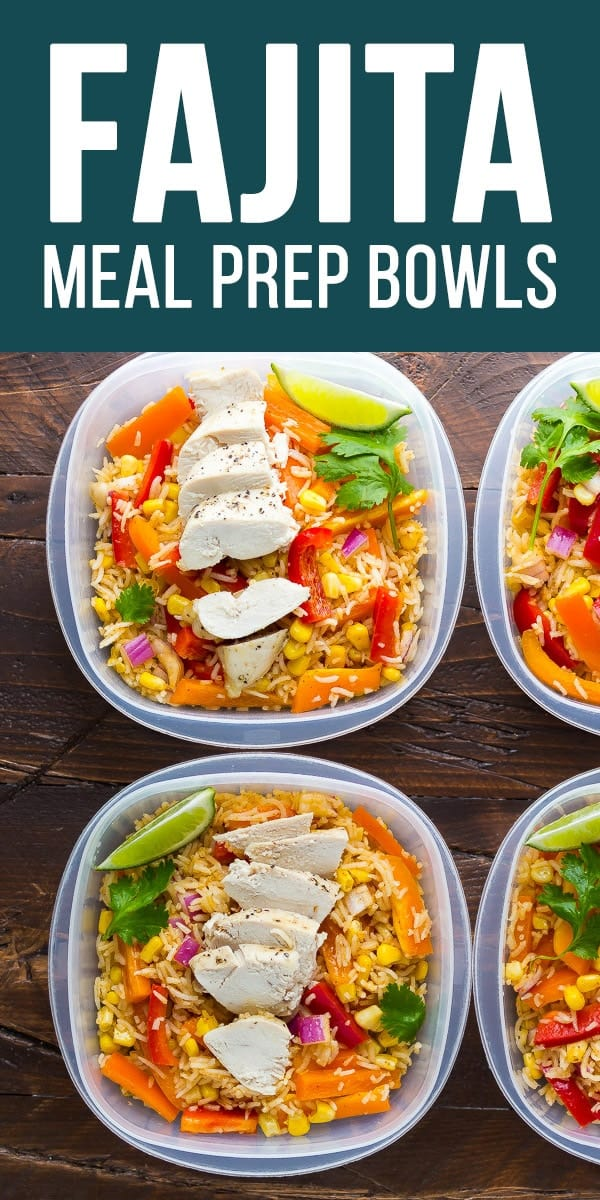 Meal prep chicken fajita lunch bowls with fresh veggies, rice, and chicken breast all tossed in a tangy fajita vinaigrette! An easy make ahead lunch recipe! #sweetpeasandsaffron #mealprep #lunch #chicken #glutenfree #salad #fajita