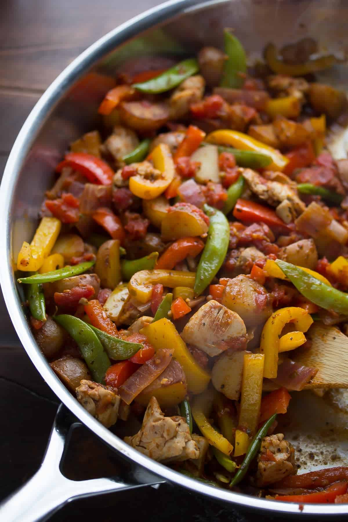 Healthy Chicken Skillet with Cajun Potatoes and Veggies. A one pot, 30-minute dinner recipe!