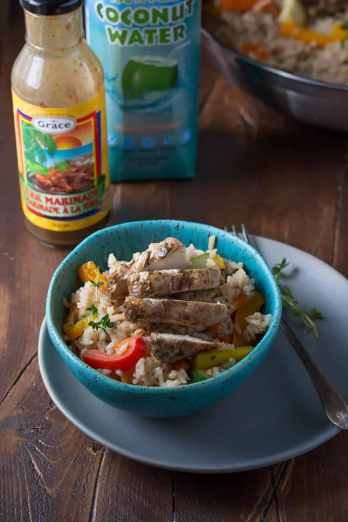 One Pot Caribbean Chicken and Rice, an easy and healthy recipe to get dinner on your table in 45 minutes using one pot!