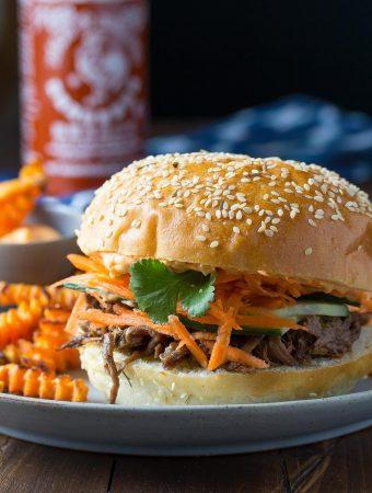 Slow Cooker Beef Sandwiches with Sriracha Mayo