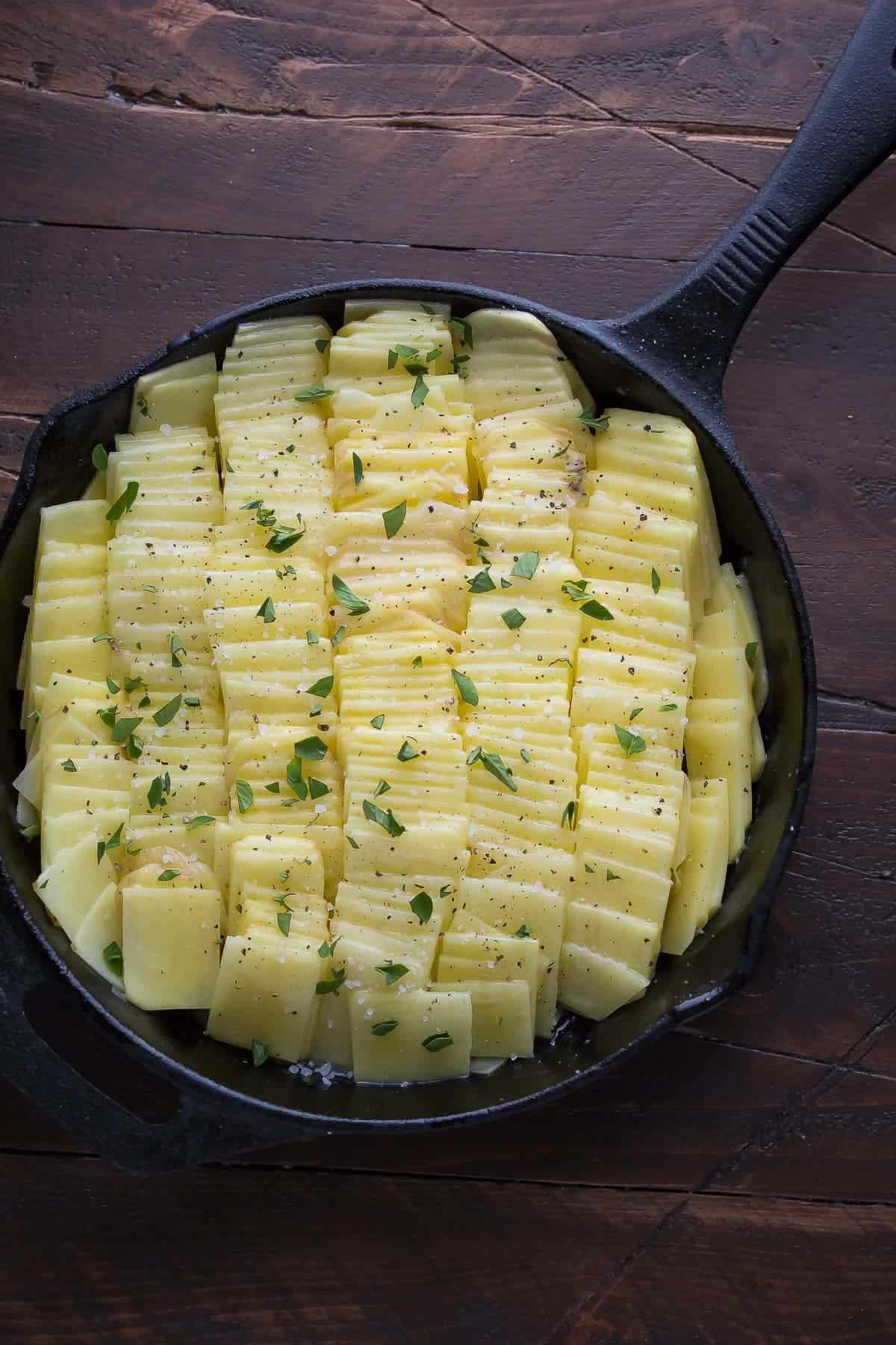 Sea Salt and Oregano Domino Potatoes, an impressive potato side dish recipe that is perfect for the holidays!
