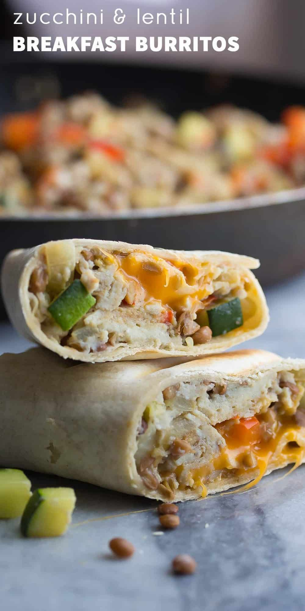 healthy breakfast burritos with zucchini and lentils