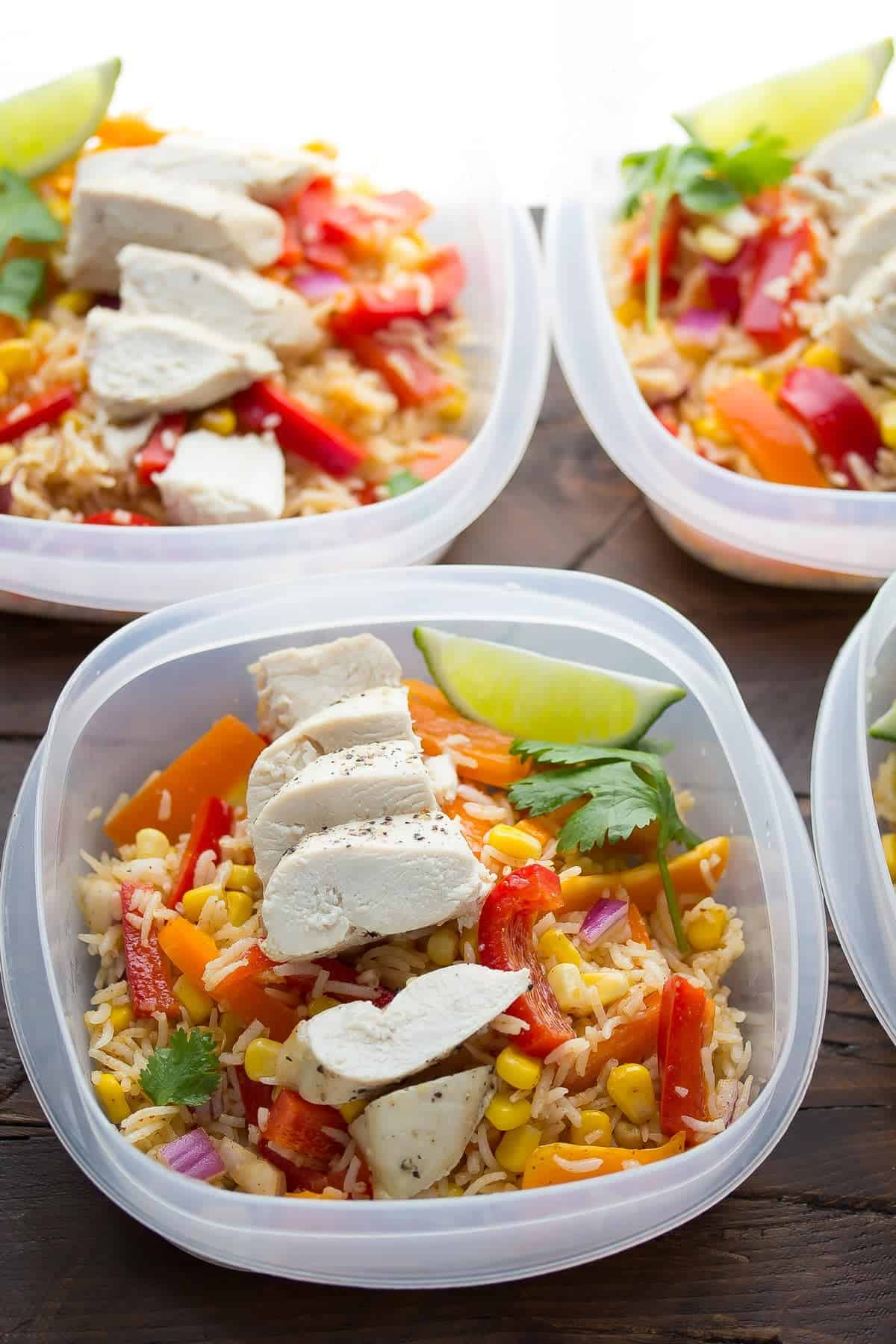 Chicken Fajita Lunch Bowls (Make Ahead)-4