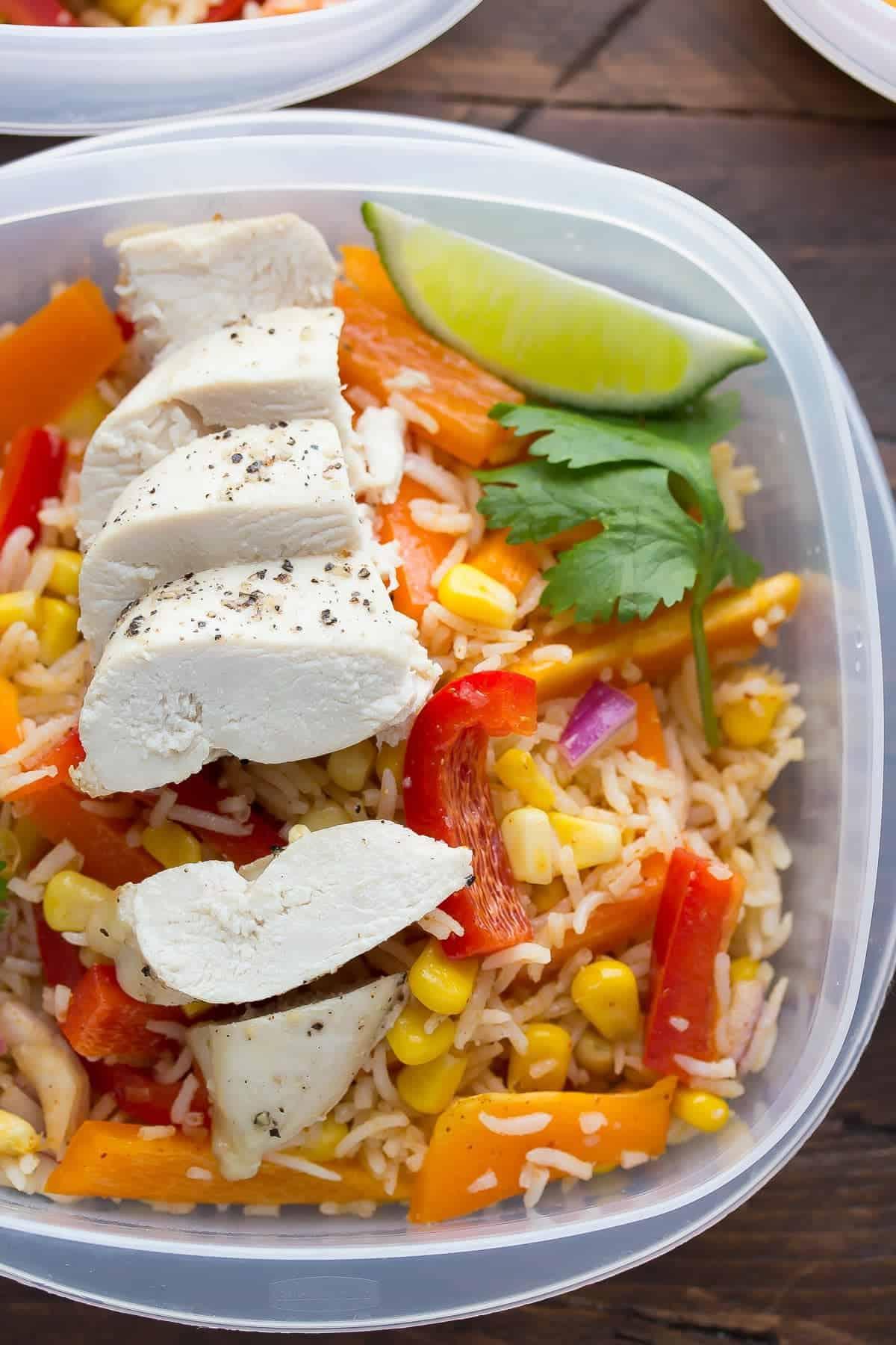 Chicken Fajita Lunch Bowls (Make Ahead)-5