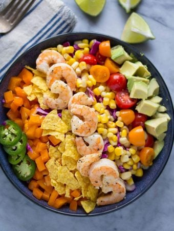 Honey-Lime Shrimp and Avocado Taco Salad