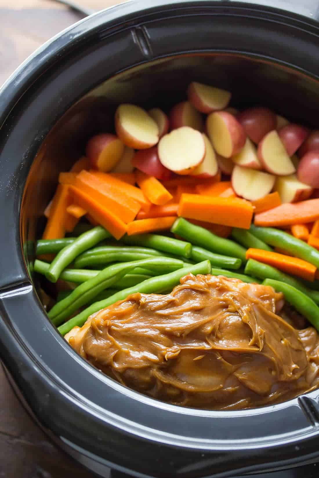 Slow Cooker Peanut Ginger Chicken with Veggies and Baby Potatoes-3