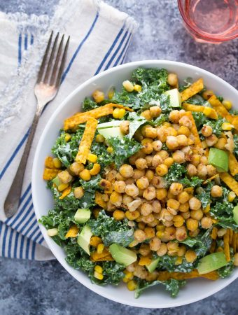 Southwestern Kale Chickpea Salad with Greek Yogurt Caesar Dressing