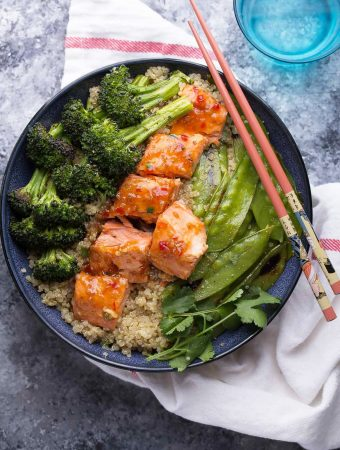 Sweet Chili Salmon & Broccoli Quinoa Bowl (Video)