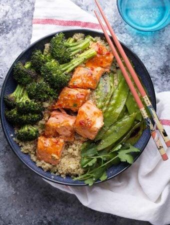 Sweet Chili Salmon & Broccoli Quinoa Bowl (Video)