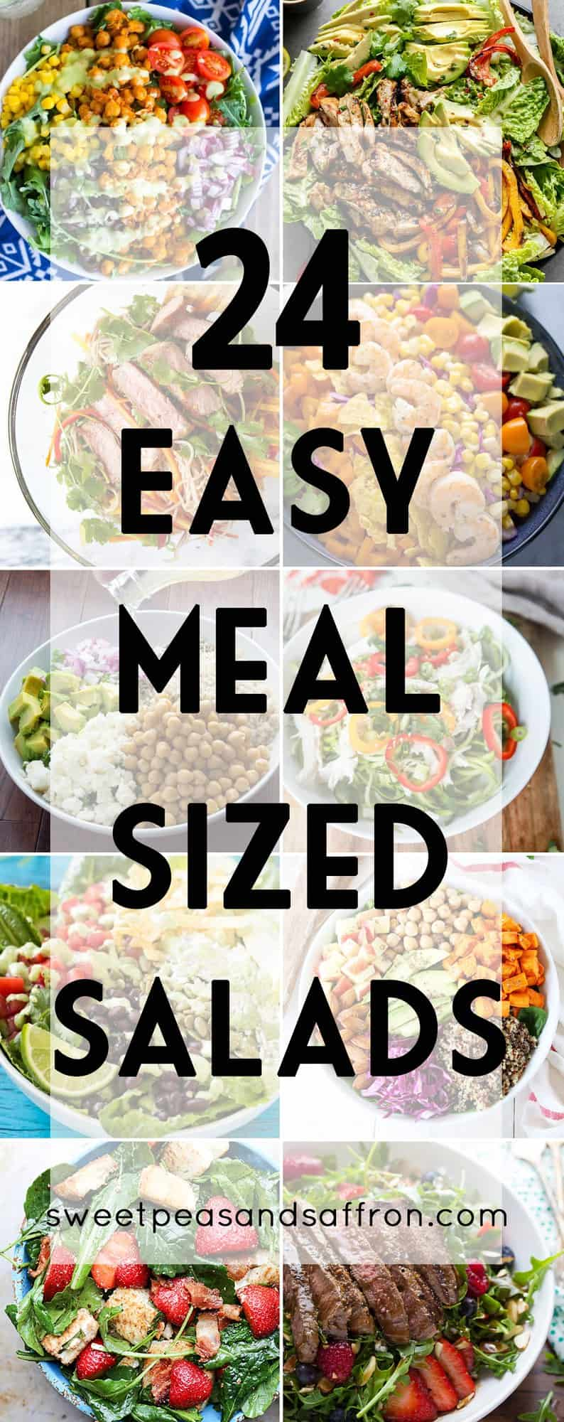 24 Easy Meal Sized Salad Recipes, including vegetarian, chicken, beef and seafood salad recipes