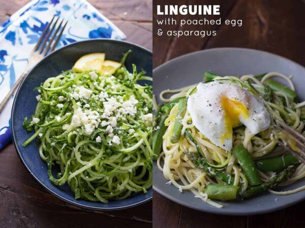 collage image with two of the 24+ Creative Spiralizer Recipes