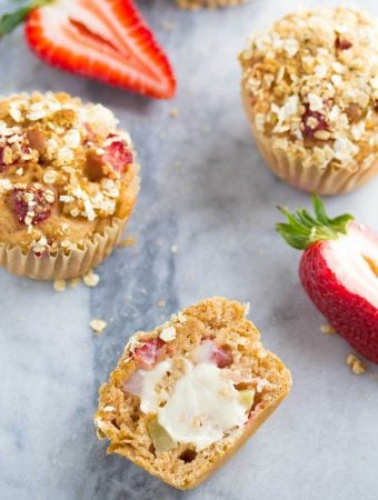 Healthy Strawberry Apple Crumble Muffins