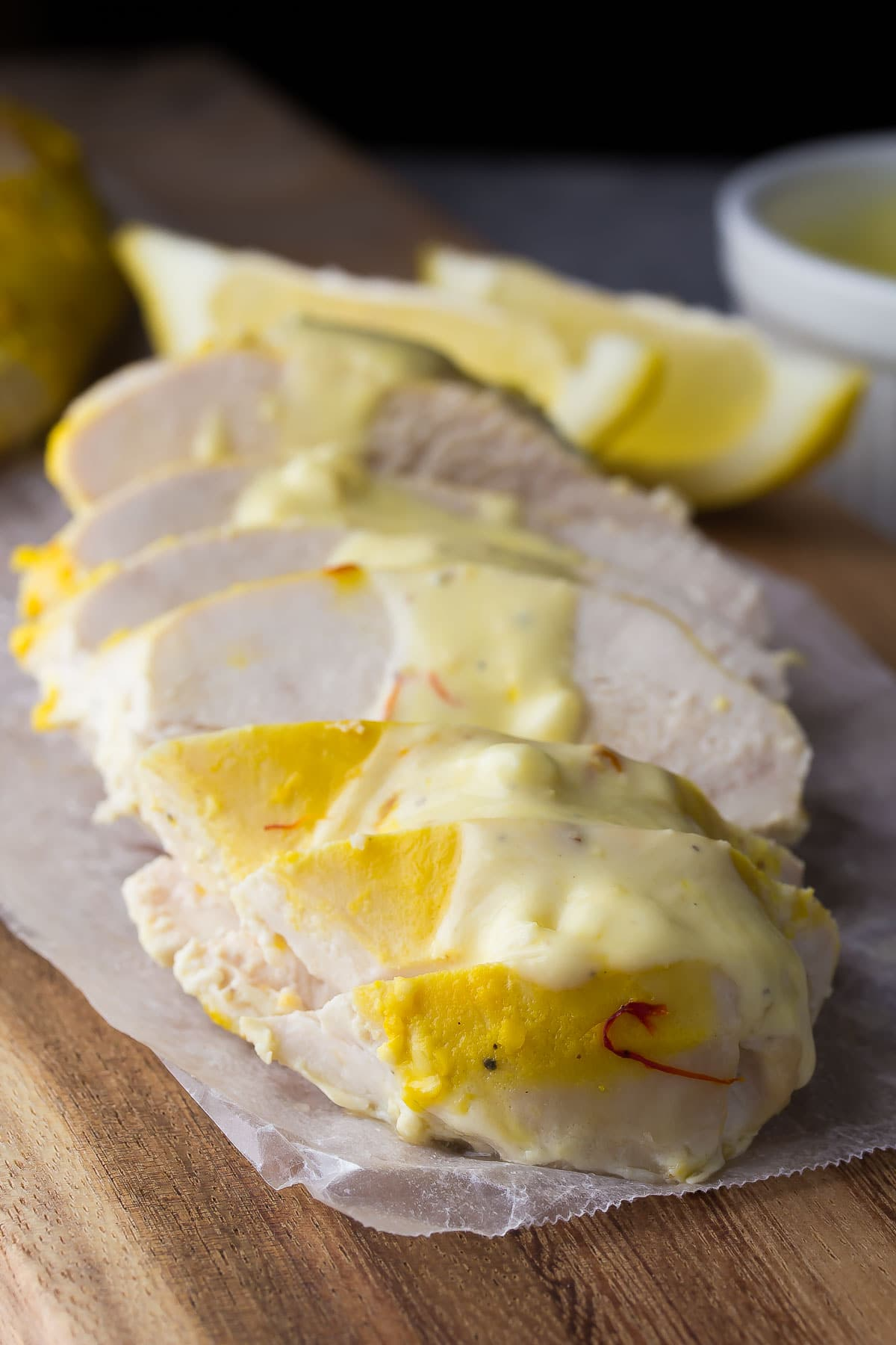 Greek Yogurt Chicken with Saffron and Garlic, an easy dinner recipe that is ready in under 30 minutes!