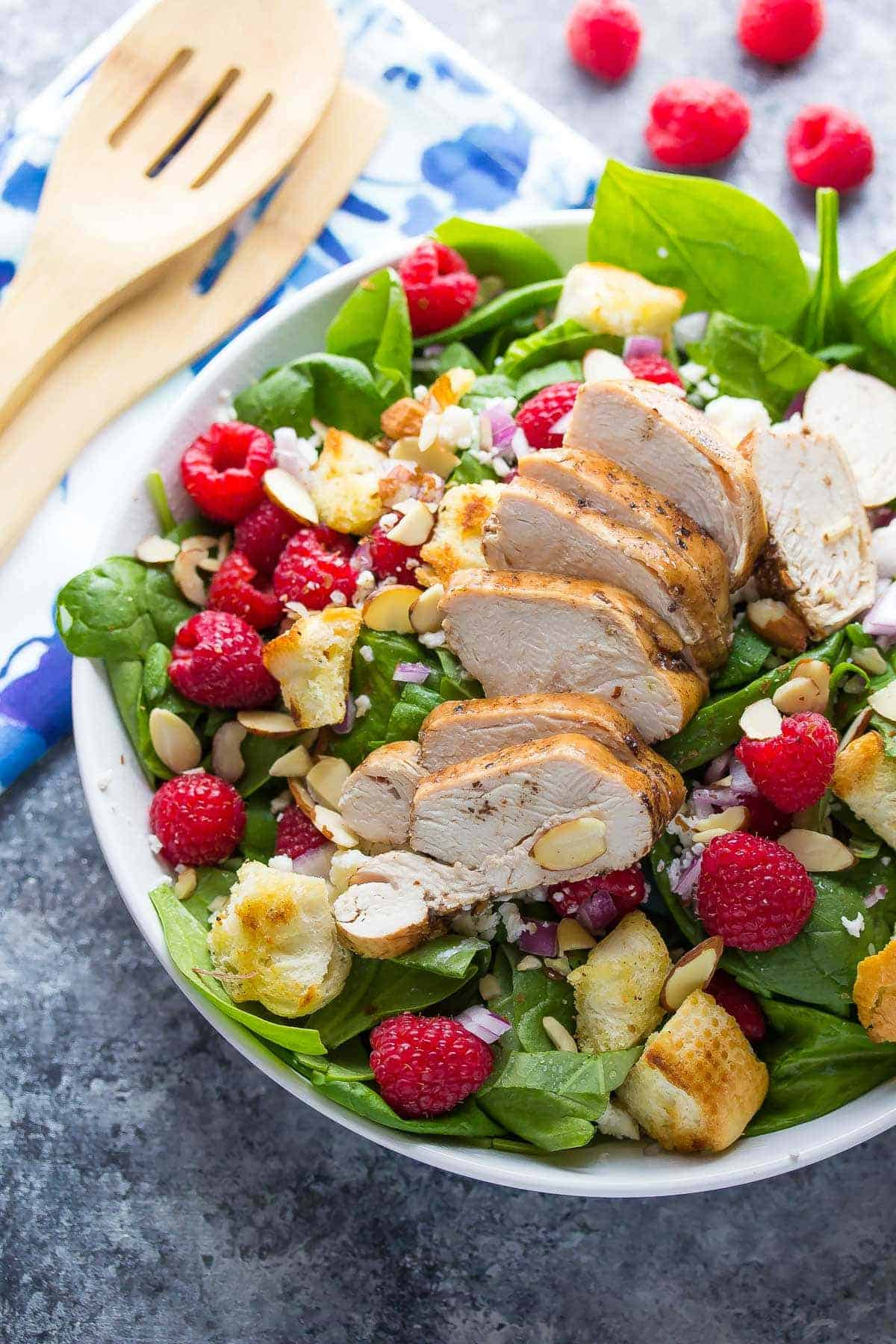 Raspberry Spinach Panzanella Recipe with Chicken and Raspberry Basil Vinaigrette, ready in 30 minutes!